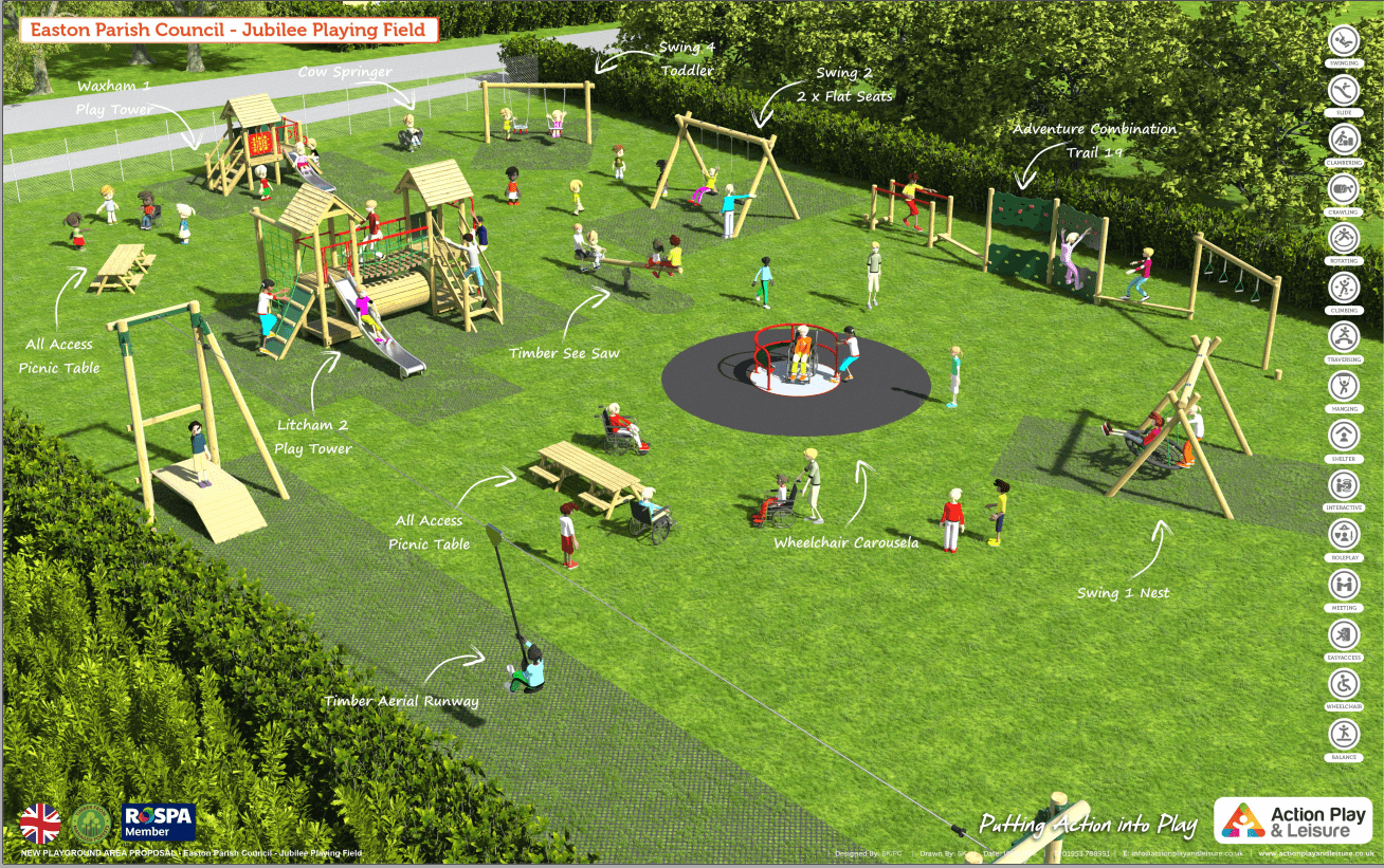 Jubilee Playing Field artist impression of the new equipment on the park